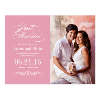 Just Married Wedding Announcements | Rose Pink Postcard