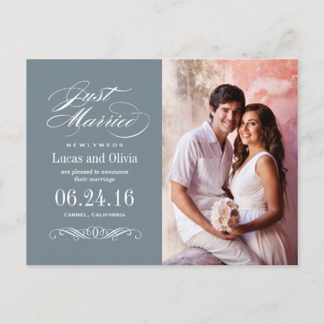 Just Married Wedding Announcements | Slate Gray