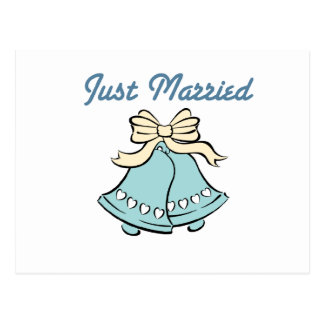JUST MARRIED WEDDING BELLS POSTCARD