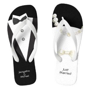 4795f570a Just Married wedding Bride   Groom Flip Flops