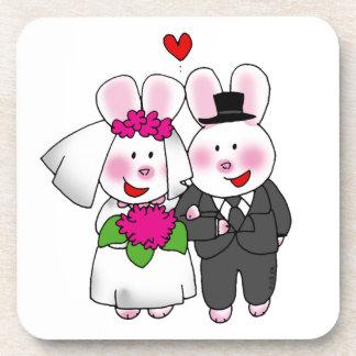 just married (wedding bunnies) coaster