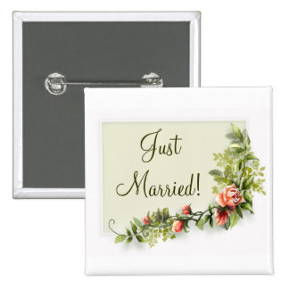 Just married wedding button