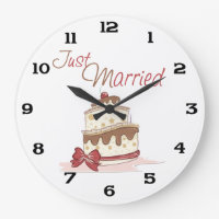 Just Married Wedding Cake Large Clock