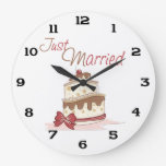 Just Married Wedding Cake Wall Clocks