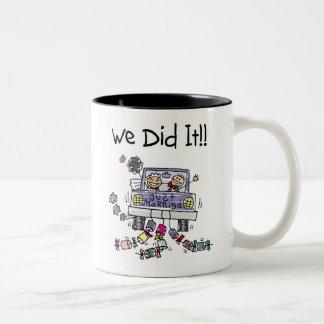 Just Married Wedding Car Two-Tone Coffee Mug