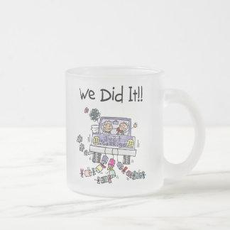 Just Married Wedding Car 10 Oz Frosted Glass Coffee Mug