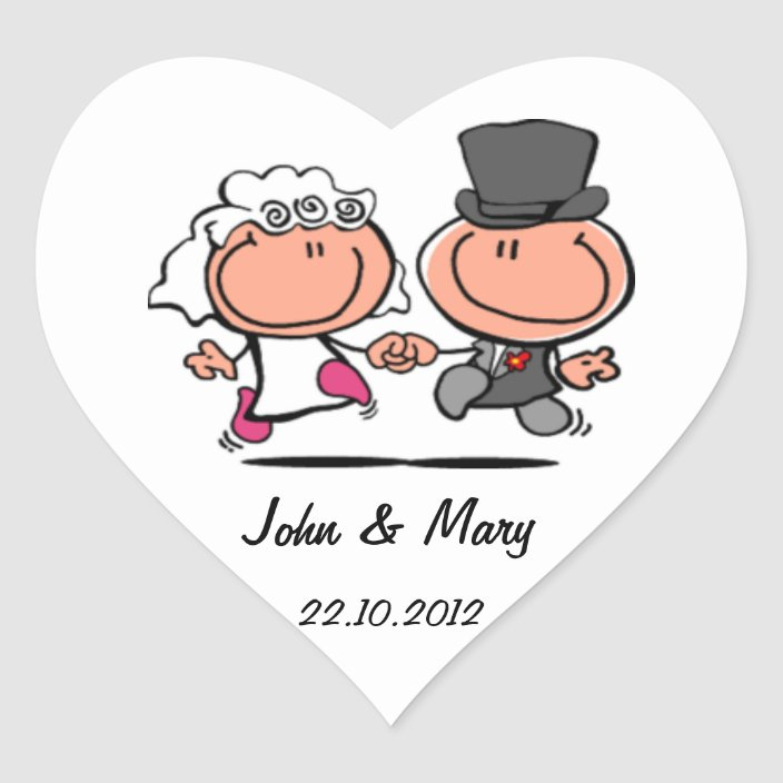 Just Married Wedding Couple Cartoon Sticker Zazzle Com