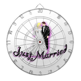 Just Married Wedding Couple Dartboard
