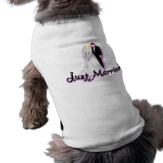 Just Married Wedding Couple Dog T Shirt