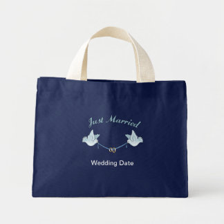 Just Married Wedding Doves Canvas Bags