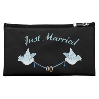 Just Married Wedding Doves Cosmetics Bags