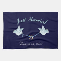 Just Married Wedding Doves Kitchen Towel