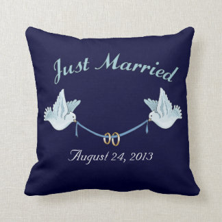 Just Married Wedding Doves Pillows