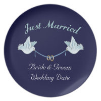 Just Married Wedding Doves Plate