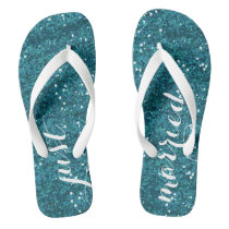 Just Married Wedding Flip Flops (Turquoise)