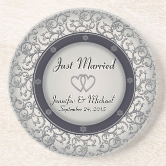 Just Married Wedding Plate Sandstone Coaster
