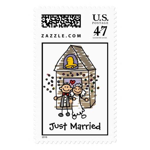 Just Married Wedding Postage Stamp