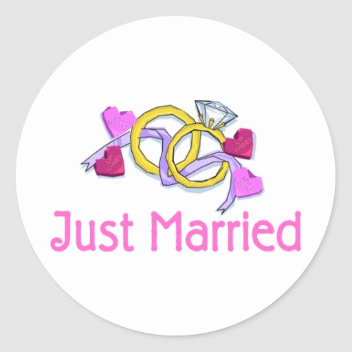 Just Married Wedding Rings Classic Round Sticker