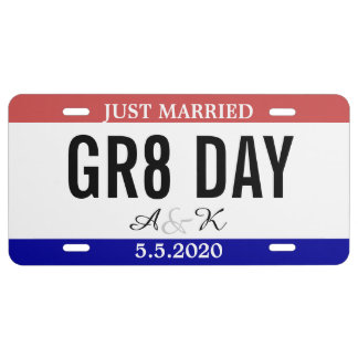 Just Married Wedding Souvenir Car Number License Plate