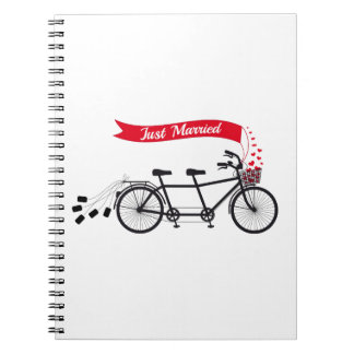 Just married, wedding tandem bicycle spiral notebook