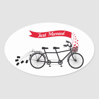 Just married, wedding tandem bicycle oval sticker