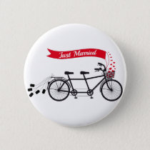 Just married, wedding tandem bicycle pinback button