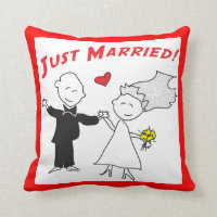 Just Married Wedding Throw Pillow