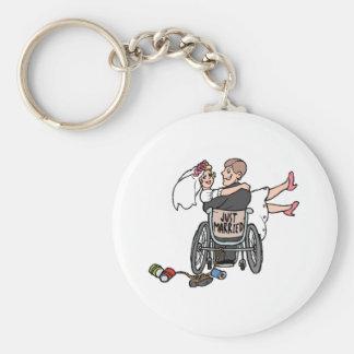 Just Married Wheelchair Basic Round Button Keychain