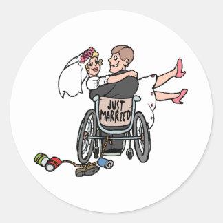 Just Married Wheelchair Classic Round Sticker