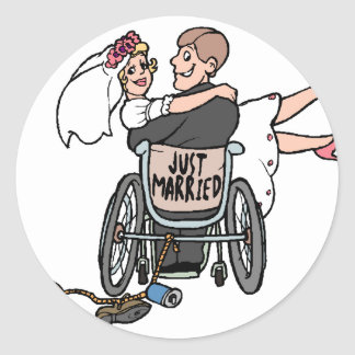 Just Married (Wheelchair) Classic Round Sticker