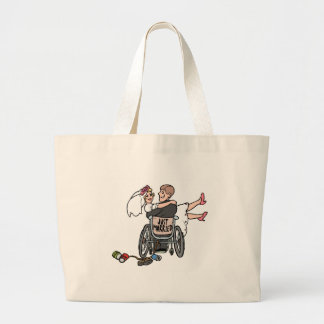 Just Married Wheelchair Large Tote Bag