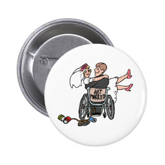 Just Married Wheelchair Pinback Button