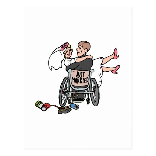 Just Married Wheelchair Postcard