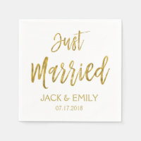 Just Married White and Gold Foil Napkins