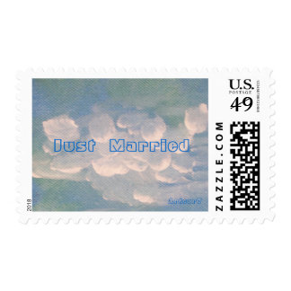 Just Married White Clouds on Blue Painting Stamp