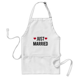 just married with two red hearts adult apron