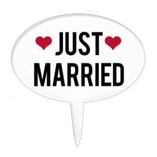 just married with two red hearts cake topper