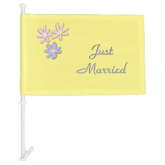Just Married Yellow Car Flag