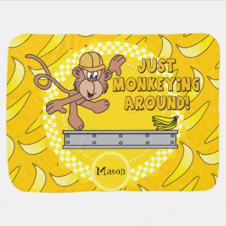 Just Monkey Around Nursery Theme Stroller Blanket