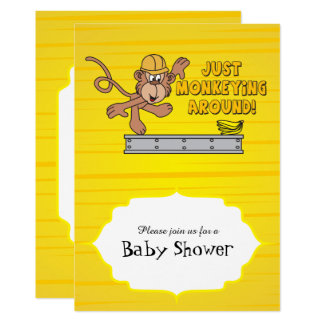 Just Monkeying Around Baby Shower Card