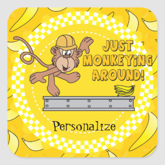 Just Monkeying Around Baby Shower Theme Square Sticker