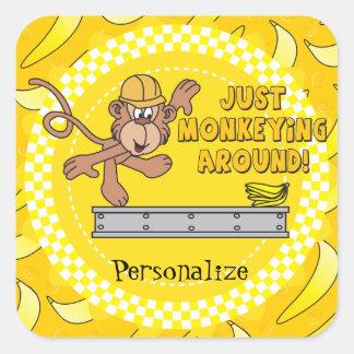 Just Monkeying Around Baby Shower Theme Square Sticker