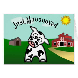 Just Moooved Greeting Card