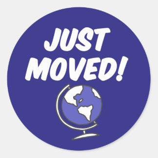 Just Moved Globe Classic Round Sticker