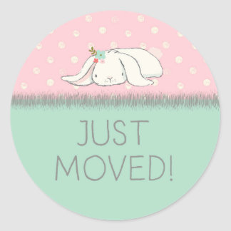 Just Moved! Pink and Green Bunny with Flowers Classic Round Sticker
