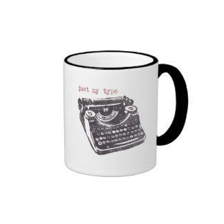 """just my type"" ringer coffee mug"