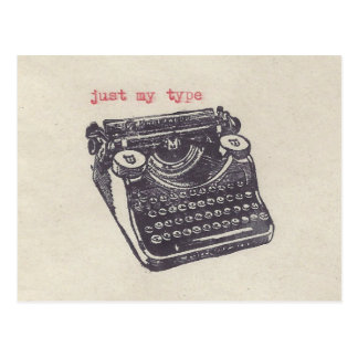 """just my type"" post cards"