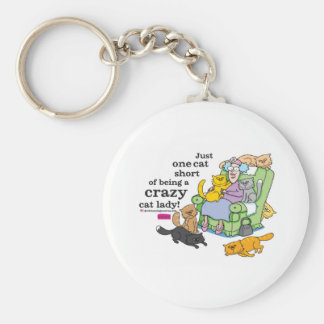 Just One Cat Short Of Being A Crazy Cat Lady Basic Round Button Keychain