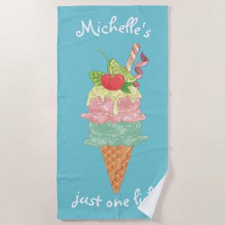 Just One Lick Ice Cream Cone ID418 Beach Towel