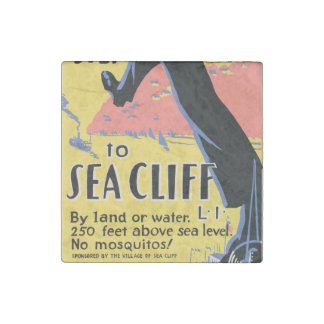 Just one long step to Sea Cliff Stone Magnet